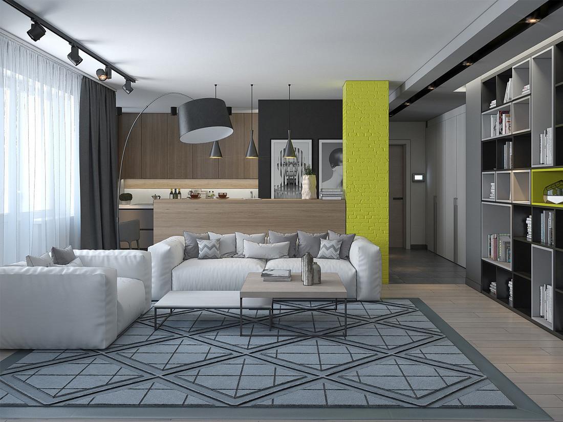 Дизайн квартиры-студии в стиле лофт. Гостиная. Кожаная мебель. Минск. Неманская.