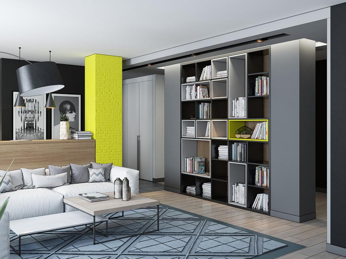 Дизайн студии Минск (INSIGHT). Квартира-студия в стиле лофт. Гостиная. Стеллаж для декоративных предметов.