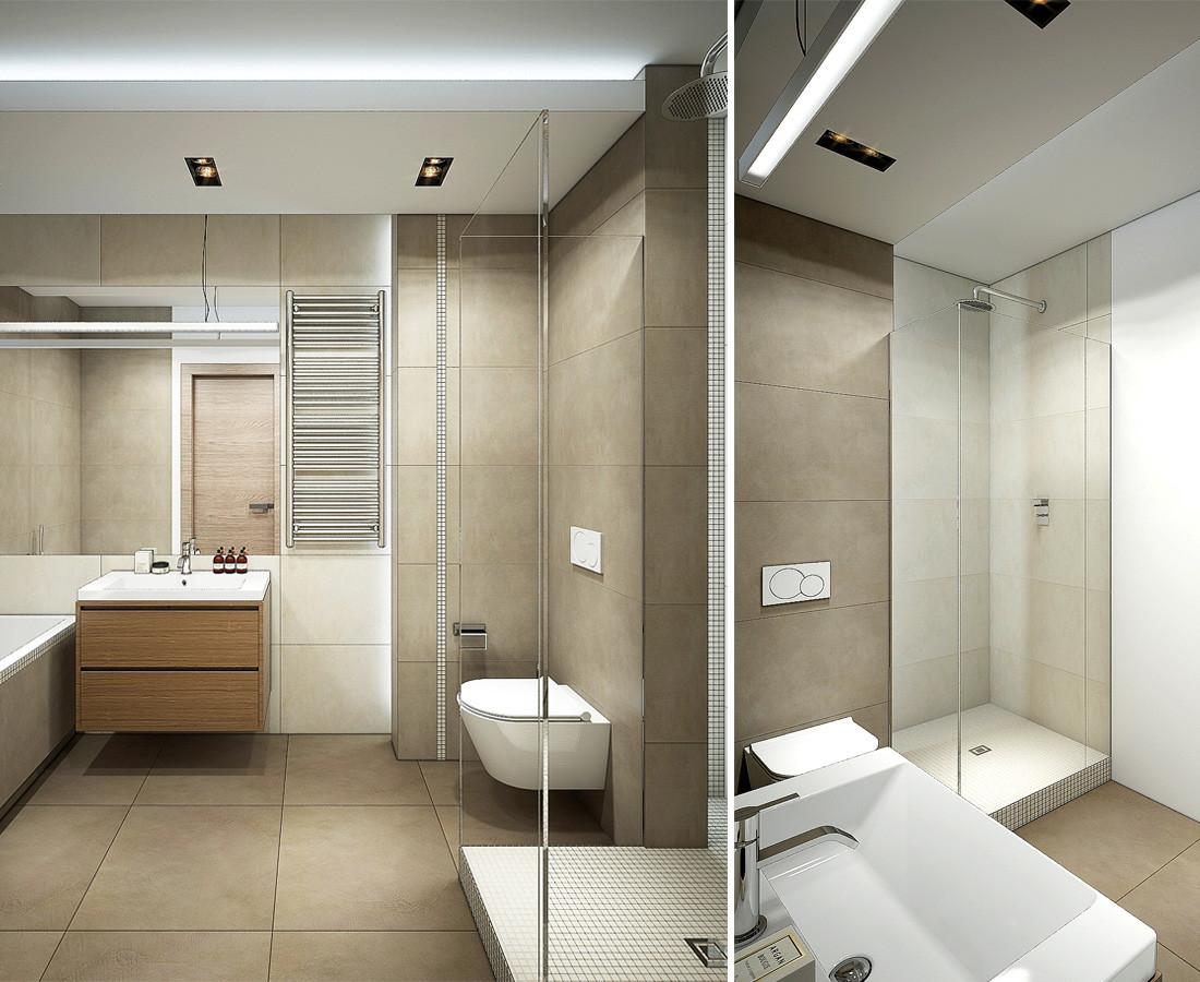 Дизайн квартиры-студии в стиле лофт. Ванная, душевая. Бежевая плитка Italon.