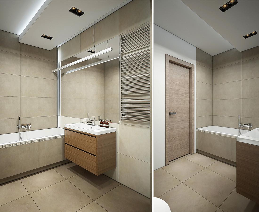 Дизайн квартиры-студии в стиле лофт. Ванная, душевая. Бежевая плитка, мозаика Italon.