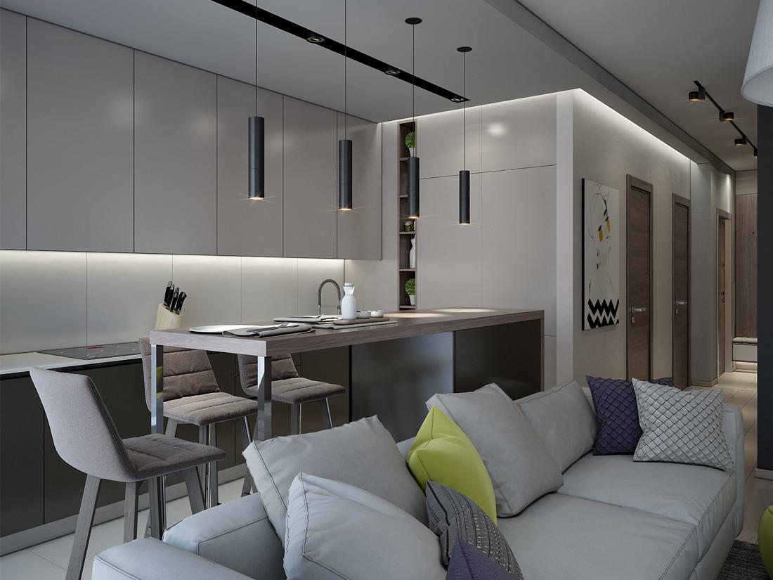 Дизайн интерьера 2-х комнатной квартиры в современном стиле, г.Минск