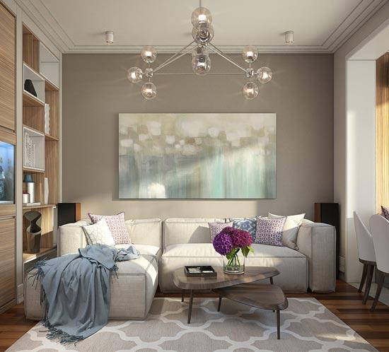 Проект квартиры в свободном планировочном стиле в жилом комплексе Лебяжий в Миснке