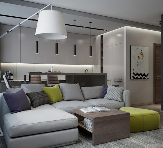 Дизайн-проект интерьера в современном стиле квартиры студии в новом жилом комплексе в Минске. Лаймовый акцент. Портфолио