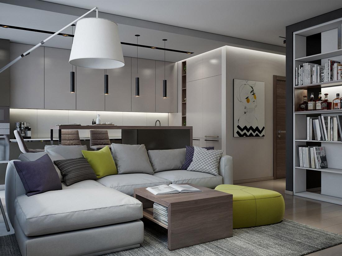 Интерьер-квартиры-студии-в-новом-жилом-комплексе-Минска. Гостиная